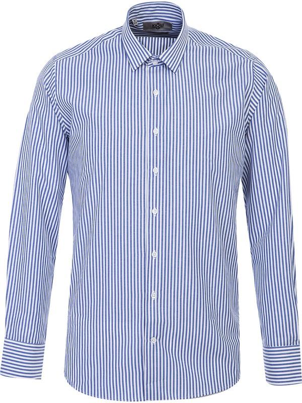 Kiğılı Uzun Kol Çizgili Slim Fit Gömlek