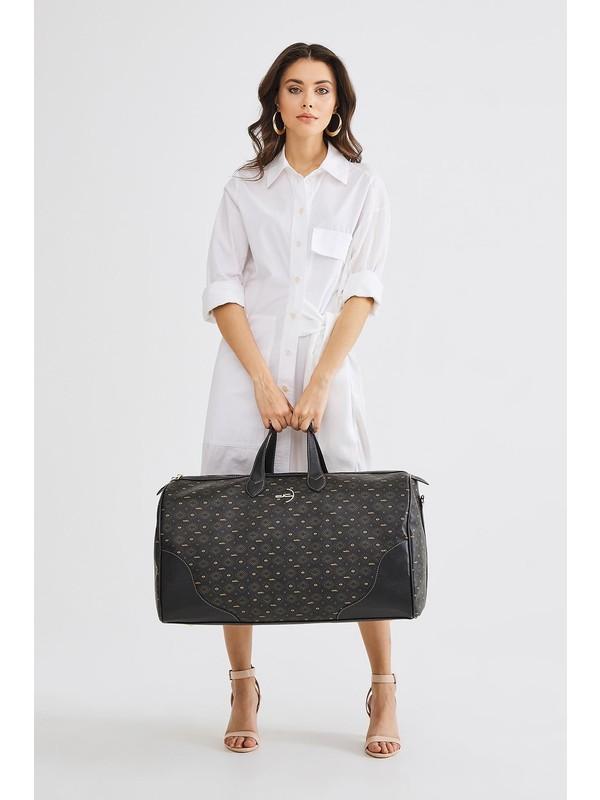 Deri Company Kadın Basic Valiz (Bavul) Monogram Desenli Logolu Siyah Taba (4027ST) 214036
