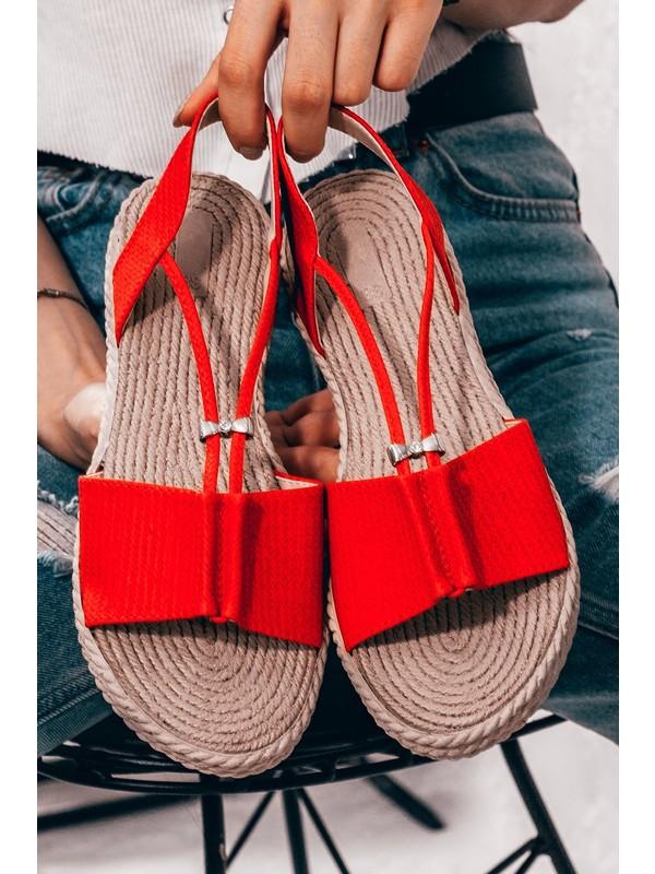 Adım Adım Kırmızı Kadın Düz Sandalet
