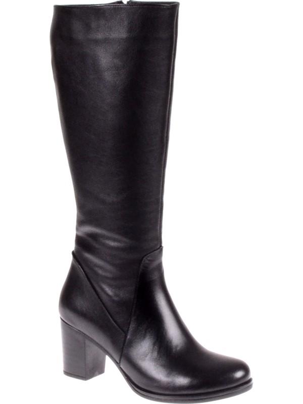 Shalin Deri Günlük Kadın Çizme N-5112 Siyah