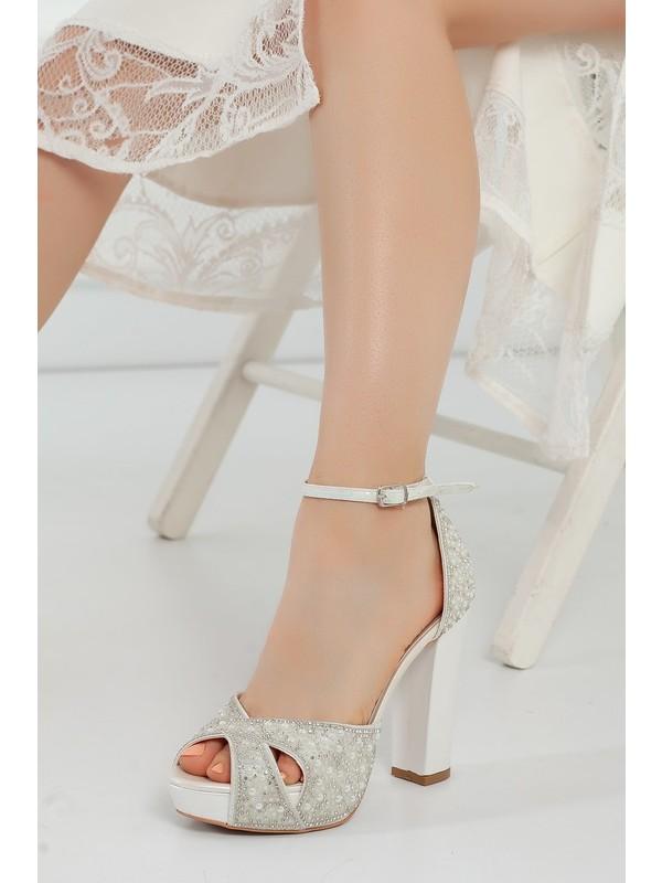 Çnr&Dvs Sedef İnci Taş Kadın Abiye Ayakkabı 2011CNR