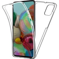 Kvy Samsung Galaxy A51 360 Derece Kılıf Kristal Silikon Soft Ön Arka Şeffaf