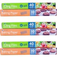 Food Fresh Mutfak Seti - 40 Metre Kesme Bıçaklı Streç Film x 3 Adet - 10 Metre Pişirme Kağıdı x 3 Adet