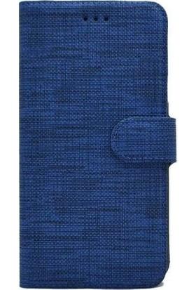 Kvy Oppo A72 Spor Kumaş Cüzdan Kılıf Mavi