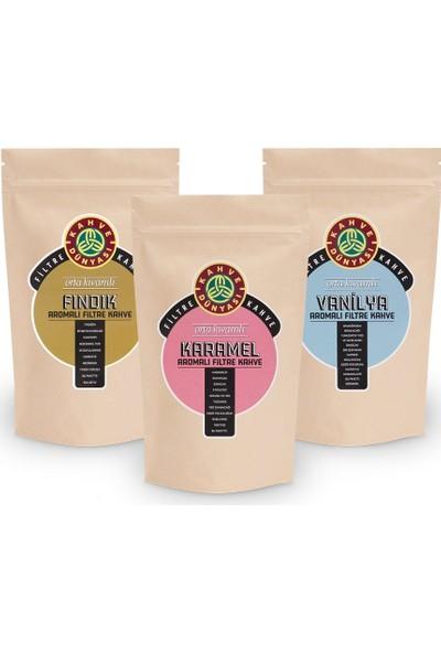Kahve Dünyası Aromalı Filtre Kahve 250 gr x 3'lü ( Vanilya - Fındık - Karamel )