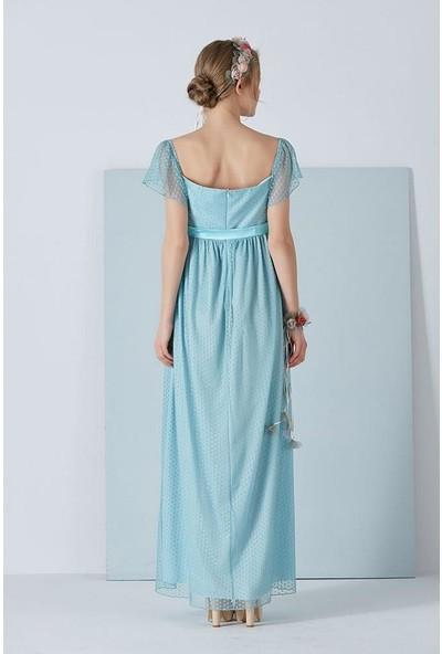 Işşıl 6026-Puanlı Tül Hamile Abiye Maxi Elbise