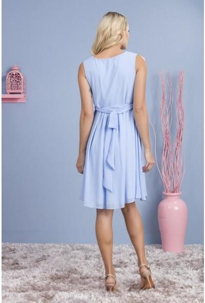 Işşıl 8222-Kruvaze Yaka Mini Hamile Giyim Abiye Elbise