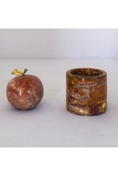 Özel El Işçiliği Tasarımı Onyx Mermer Elma ve Saksı