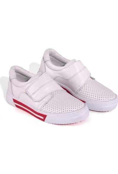 Akıllı Şirin El Işçiliği Içi Dışı Deri Genç Erkek Çocuk Ayakkabı Beyaz