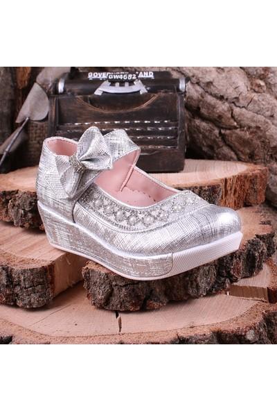 Akıllı Şirin Taş İşlemeli Genç Kız Dolgu Topuklu Ayakkabı Gümüş