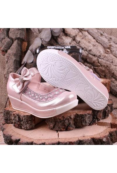 Akıllı Şirin Taş İşlemeli Genç Kız Dolgu Topuklu Ayakkabı Pudra