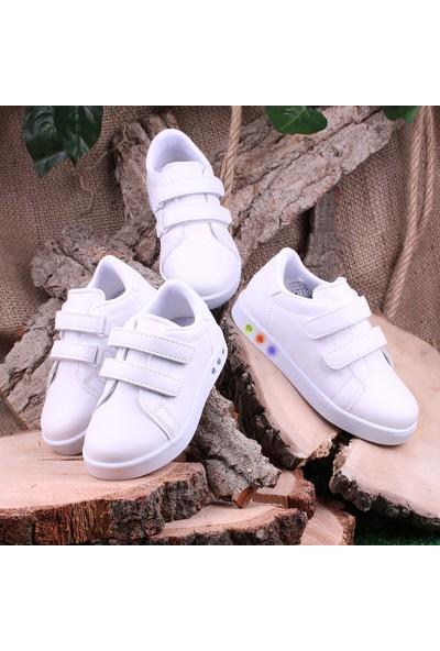 Akıllı Şirin Antibakteriyel Anatomik Işıklı Çocuk Kısa Boğaz Spor Ayakkabı Beyaz