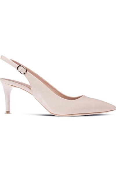 Deery Bej Rengi Rugan Topuklu Kadın Ayakkabı
