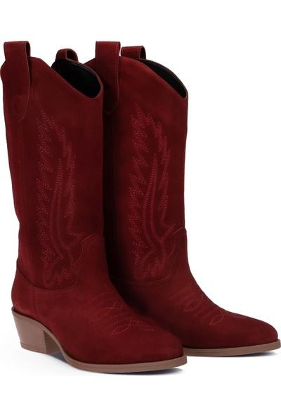 Deery Süet Bordo Kadın Çizme
