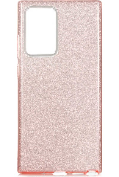 Vendas Samsung Galaxy Note 20 Ultra Parlak Simli Fashion Silikon Kılıf Rose Gold