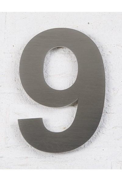Se-Dizayn Kapı Numarası 10 cm No 9, Paslanmaz Çelik Kendinden Yapışkanlı