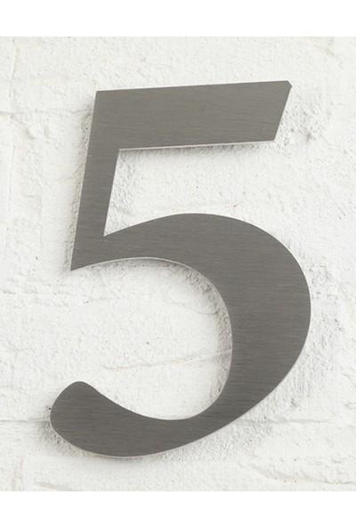 Se-Dizayn Kapı Numarası 10 cm No 5, Paslanmaz Çelik Kendinden Yapışkanlı Roma Yazı Tipi