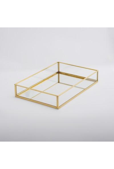 El Crea Designs Tepsi Ayna Tabanlı Söz Nişan Sunum Masası Gold Pirinç Brass