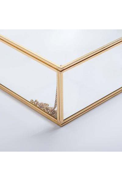 El Crea Designs Dekoratif Kapaklı Cam Takı, Makyaj, Aksesuar Kutusu Gold Pirinç Brass 28X28X8CM