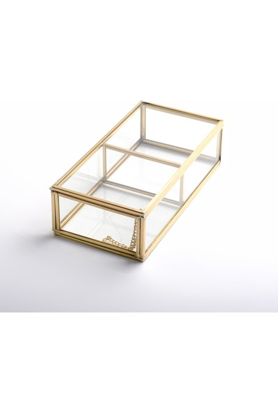 El Crea Designs 2 Bölmeli Cam Takı Aksesuar Makyaj Organizer Kutusu Gold Pirinç Brass 20X10X6