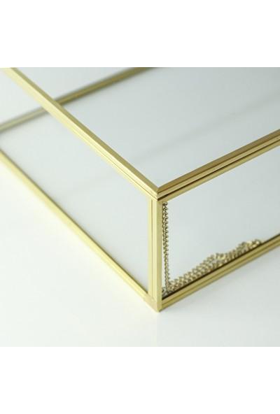 El Crea Designs Takı Kutusu Çikolata Kutusu Gold Pirinç Brass