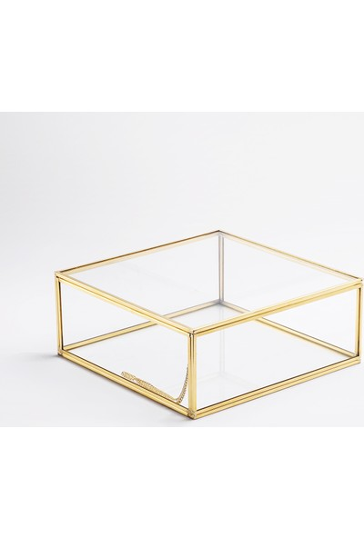 El Crea Designs Kapaklı Cam Takı Aksesuar Çikolata Söz Mendil Kutusu Gold Pirinç Brass 22X22X8CM