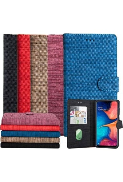 Kvy Samsung Galaxy A30S Spor Kumaş Cüzdan Kılıf Kırmızı