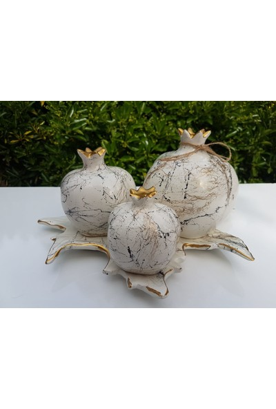 Artezza Home Tabaklı Üçlü Nar Seti Krem Altın Mermer Desenli