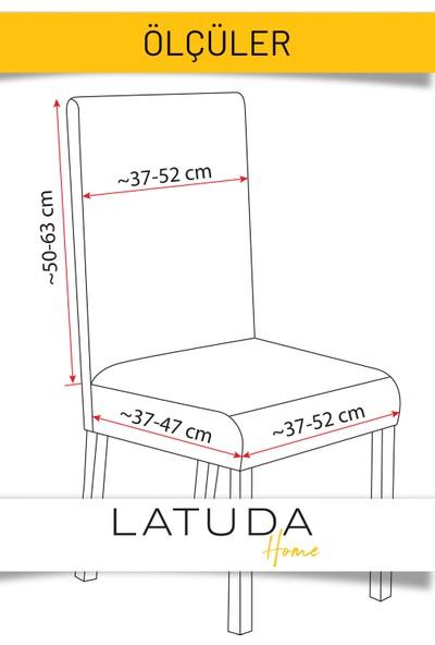 Latuda Likralı Yıkanabilir Pudra Pembe Sandalye Kılıfı | Sandalye Örtüsü 4'lü