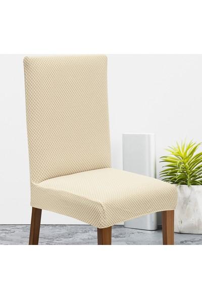 Latuda Likralı Yıkanabilir Krem Sandalye Kılıfı | Sandalye Örtüsü