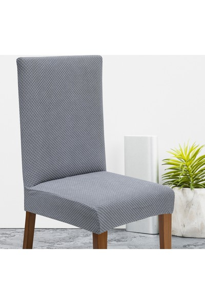 Latuda Likralı Yıkanabilir Gri Sandalye Kılıfı | Sandalye Örtüsü