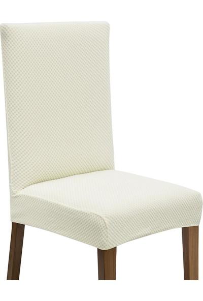 Latuda Likralı Yıkanabilir Ekru Sandalye Kılıfı | Sandalye Örtüsü 6'lı