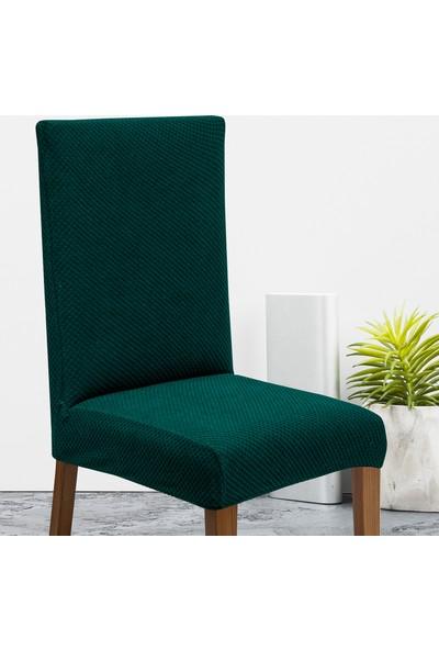 Latuda Likralı Yıkanabilir Zümrüt Sandalye Kılıfı | Sandalye Örtüsü 6'lı
