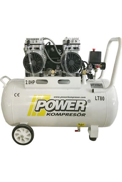 Power 80 lt - 2 Hp - 220 Volt - 8 Bar Kurutuculu Sessiz ve Yağsız Kompresör