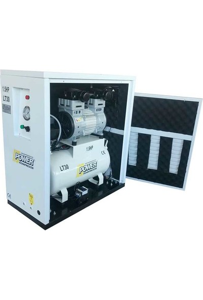 Power 30 lt - 1.5 Hp - 220 Volt - 8 Bar - Kabinli Sessiz ve Yağsız Kompresör