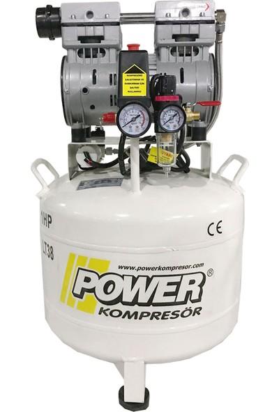 Power 38 lt - 1 Hp - 220 Volt - 8 Bar - Sessiz ve Yağsız Kompresör