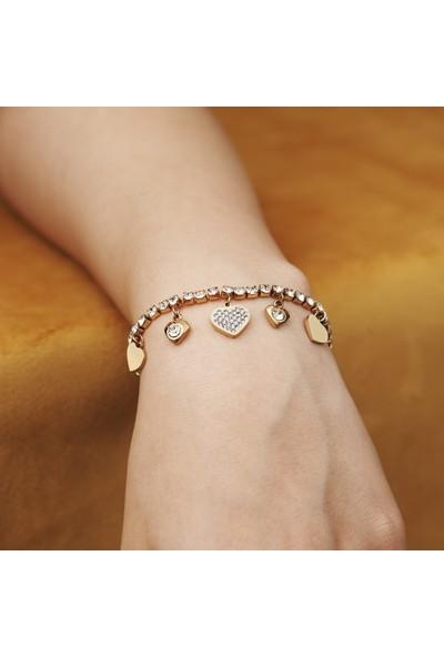 Anello 316 L Çelik Pandora Zirkon Taşlı Kalpli Kadın Bileklik