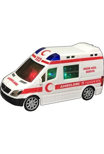 Erzi Oyuncak Ambulans Ledli 3D Sesli Işıklı Hareketli Sirenli Oyuncak