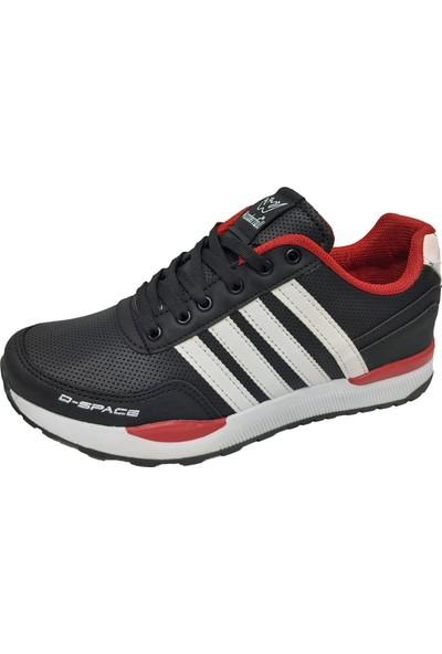Wanderfull 264 Deri Erkek Spor Ayakkabı Siyah Beyaz Kırmızı
