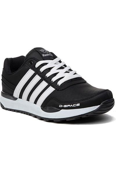 Wanderfull 264 Deri Büyük Numara Erkek Spor Ayakkabı Siyah Beyaz
