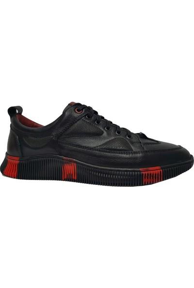 Copacabana 3339 Deri Erkek Ayakkabısı Siyah Kırmızı