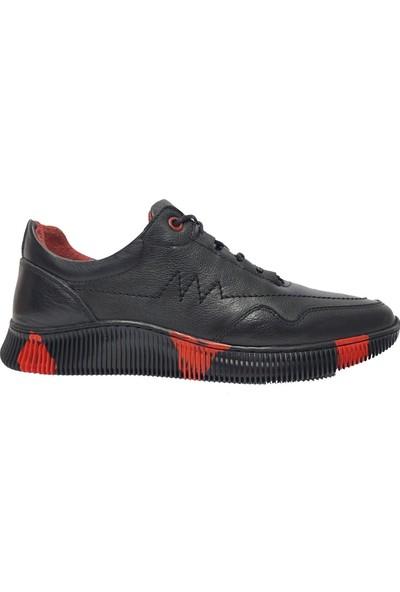 Copacabana 3340 Deri Erkek Ayakkabısı Siyah Kırmızı