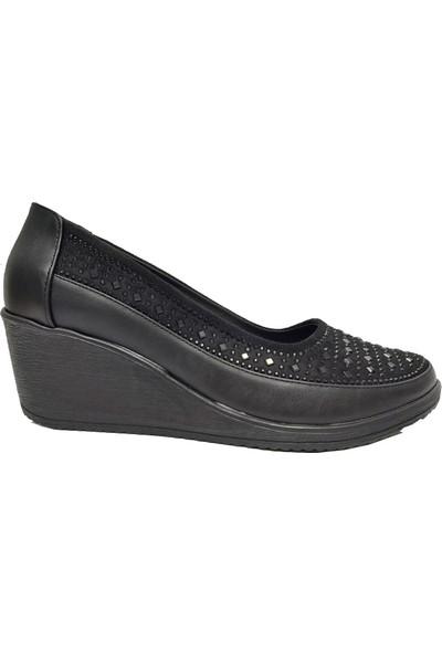 Mavişim 410 Dolgu Topuklu Taşlı Kadın Ayakkabı