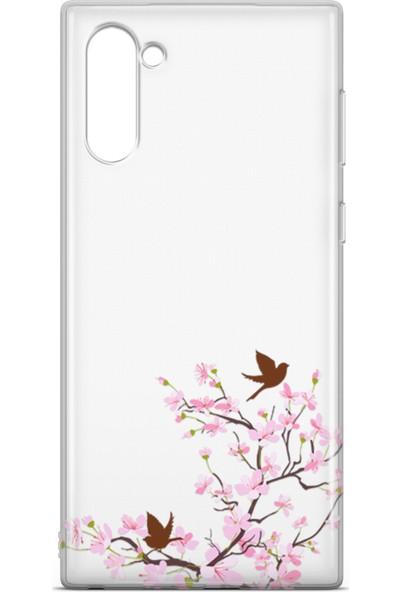 Lopard Samsung Galaxy Note 10 Kılıf Peony Kuşlar Arka Kapak Koruma Desenli Full Koruyucu