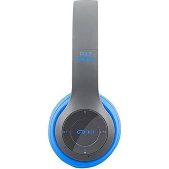 Rowen P47 Bluetooth 5.0 +Edr Tf - Kart Mp3 Çalar Kulaklık Mavi