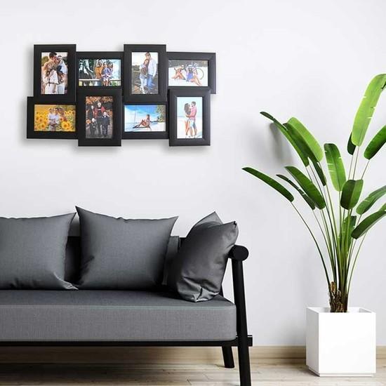 Yaşam Medya Siyah Renkli 8 Fotoğraflı Dekoratif Duvar Çerçevesi