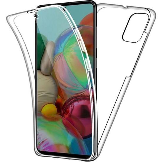 Kvy Samsung Galaxy A71 360 Derece Kılıf Kristal Silikon Soft Ön Arka Şeffaf