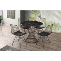 Yuvarlak Mutfak Masası ve 4 Adet Sandalye 90CM Mermer Desen