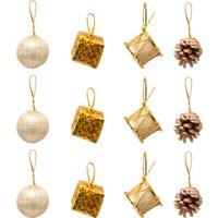 KbkMarket Yılbaşı Çam Ağacı Kozalaklı Altın Süs Seti 12'li