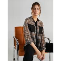 Faik Sönmez Kadın Kazayağı Desenli Şifon Gömlek 61332